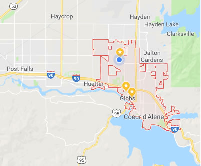 click for a larger map of Coeur d'Alene.