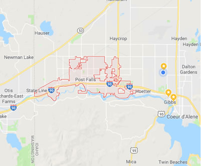 Click Here for a Larger Map of Post Falls, Idaho
